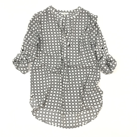 Pleione Tops - Pleione White Black Geometric Patterned Blouse S